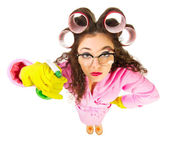 Funny housewife with nerd glasses — Stock Photo