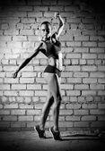 Muscular woman on brick wall (monochrome version) — Stock Photo