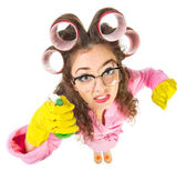 Funny housewife with nerd glasses — Stok fotoğraf