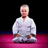 Little girl aikido fighter — Stok fotoğraf