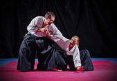 Fight between two aikido fighters — Stok fotoğraf