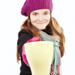 Teenager weared spring clothes, holding cup of warm tea — Stock Photo