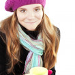 Stock Photo: Smiling girl in winter clothes