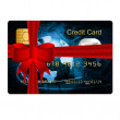 Credit card present with red bow — Stock Photo
