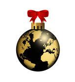 Christmas ball med globe design över vita — Stockfoto