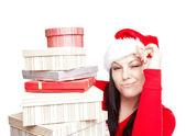 Donna di Natale con regali isolati sopra bianco — Foto Stock