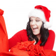 Surprised christmas woman isolated over white — Stock Photo #16284517