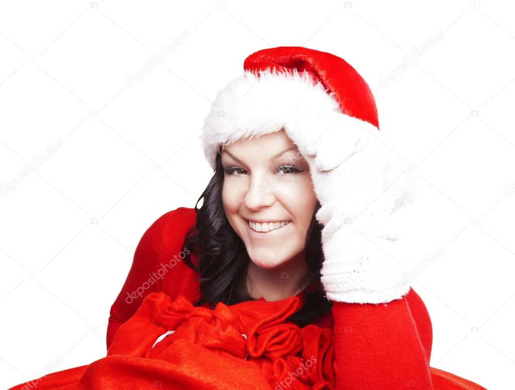 Smiling christmas woman holding presents bags — Stock Photo #16284443