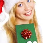 Christmas woman holding present — Stock Photo #1855049