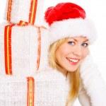 Christmas woman holding present — Stock Photo #1855173