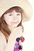 Smiling girl with thumb up over white background — Stock Photo