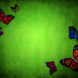 Spring green background with butterfly — Stock Photo #22460975
