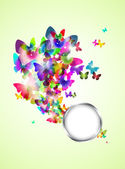 Abstract spring background with butterflies — Stock Photo