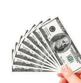 Hand holding one hundred dollars — Stock Photo