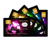 Fan of credit cards over white background — Stock Photo