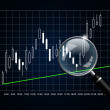 Japanese candlestick chart with magnifying glass isolated over d — Stock Photo #23638957