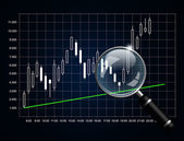 Japanese candlestick chart with magnifying glass isolated over d — Stock Photo