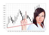 Japanse kandelaar geanalyseerd door jonge vrouw over wit — Stockfoto
