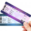 Stock Photo: Fly air tickets holded by hand