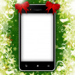 Mobile phone with place for text with christmas background — Foto Stock