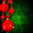 Glass balls over christmas abstract background — Stock Photo