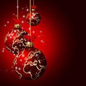 暗い背景上の世界のパターンを持つクリスマス ガラス玉 — ストック写真
