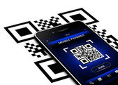 Mobile phone with qr code screen isolated over white — Stock Photo