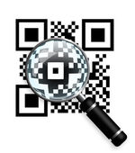 Qr code with magnifying glass isolated over white — 图库照片