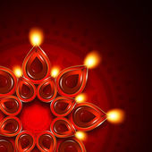 Oil lamp with diwali diya elements over dark background — Stock Photo