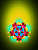Oil lamp with diwali diya elements over green — Stock Photo