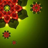 Öllampe mit Diwali Diya Elementen gegenüber dem dunklen Hintergrund — Stockfoto