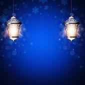 Christmas background with shiny lanterns — Stock Photo