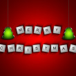 Scrabble letters spelling merry christmas greetings over red — Stock Photo