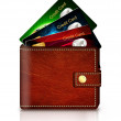Credit cards in wallet over white background — Stock Photo #36675319
