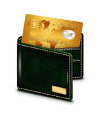 Gold card in wallet over white background — Stock Photo