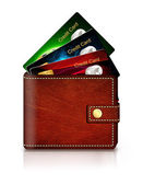 Credit cards in wallet over white background — Stock Photo