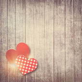 Grunge valentine background with two hearts — Stock Photo