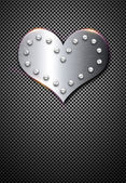 Metal valentine background with chrome heart — Stock fotografie