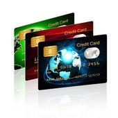 Credit cards isolated over white — Stock Photo