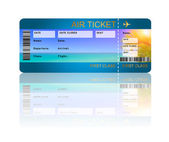 Airline boarding pass ticket with shadow isolated over white  — Stock Photo