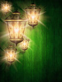 Ramadan kareem background with shiny lanterns — Stock Photo
