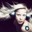 Cyborg woman over dark background — Stock Photo #46832767