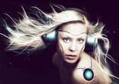 Cyborg woman over dark background — Stock Photo