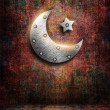 Metal ramadan kareem card with moon and star — Stock Photo #50264351