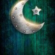 Metal ramadan kareem card with moon and star — Stock Photo #50264811