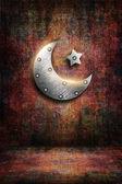 Metal ramadan kareem card with moon and star — Stock Photo