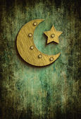 Grunge ramadan card with moon and star — Stock Photo