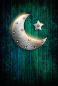 Metal ramadan kareem card with moon and star — Stockfoto