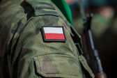 Flag patch on polish soldier uniform — Stock fotografie