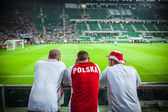WROCLAW - SEPTEMBER 11: Polish supporters at Stadion Miejski in — Foto de Stock